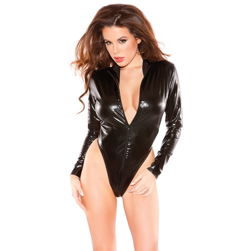 Naughty Kitten Bodysuit Black