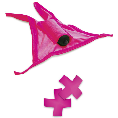 Neon Vibrating Panty & Pasty Set Pink
