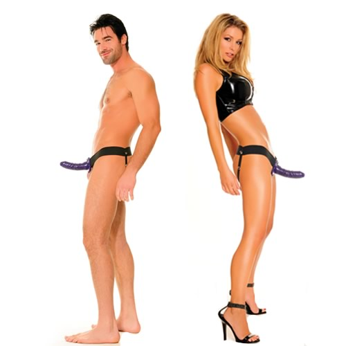 Fetish Fantasy 6 inch For Him or Her Hollow Strap On - Purple