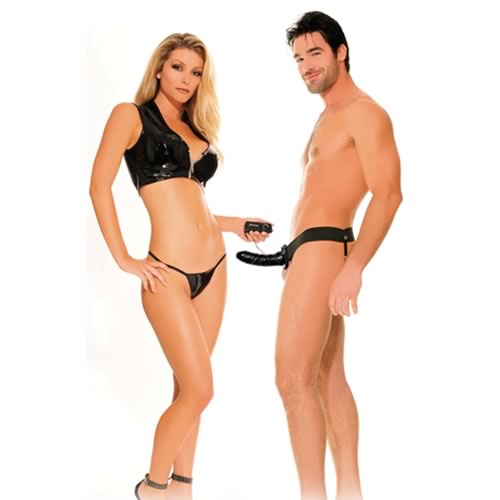 Fetish Fantasy 6 inch For Him or Her Vibrating Hollow Strap On - Black